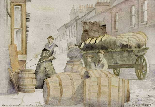 Beer delivery, Manchester, 1890's, painted 2009