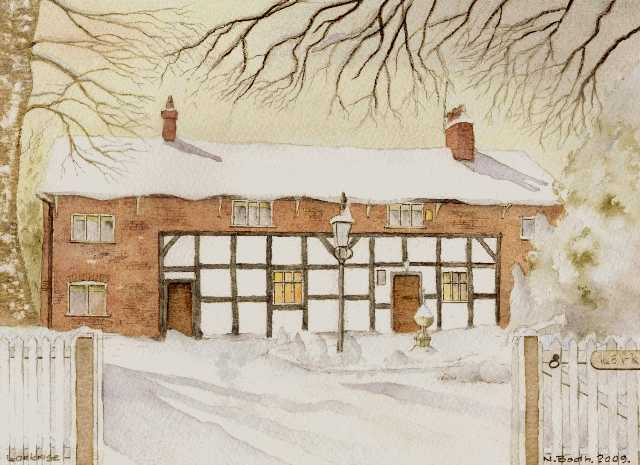 Larkrise in snow, Flixton Village, painted 2009